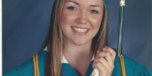 Pretty Mallory smiles for her graduation picture from Santiago High School.